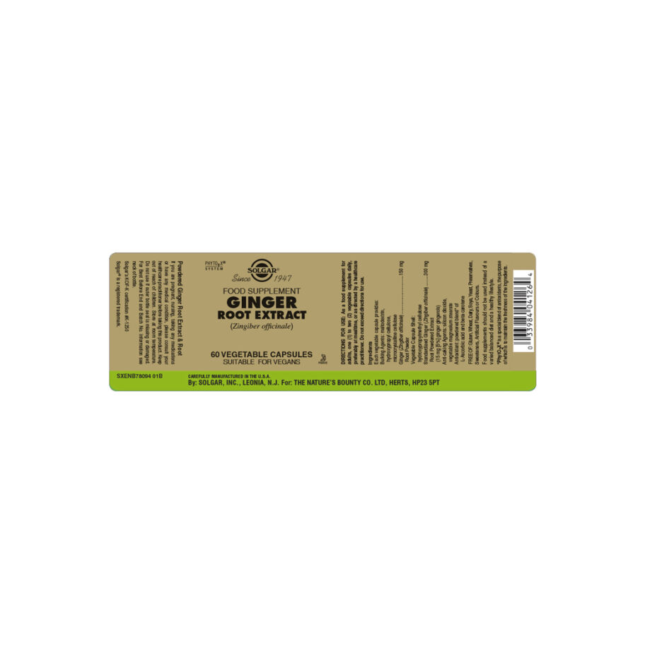 Solgar Ginger Root Extract 60 kaps