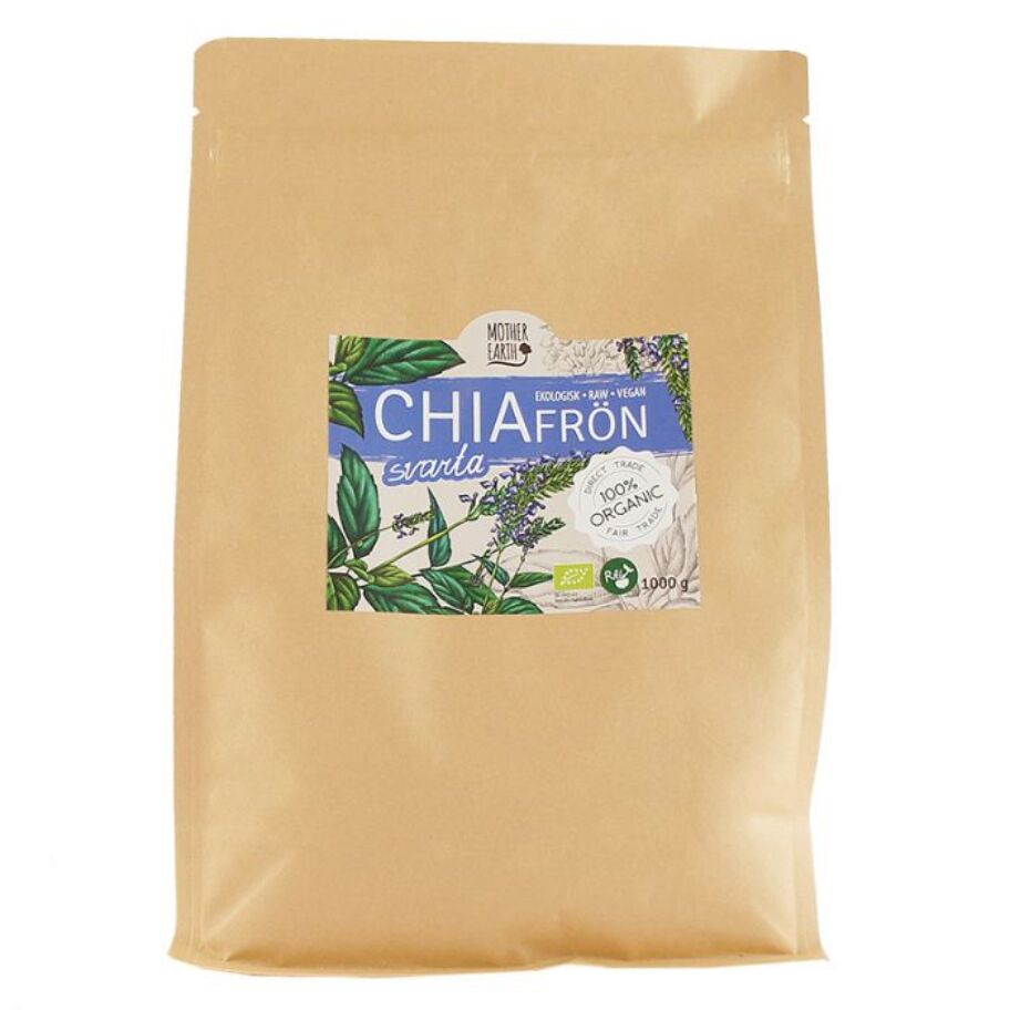 Mother Earth Chiafrön Svarta Eko & Raw 1000 g